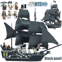875PCS DIY Pirates of the Caribbean Building Blocks Toys Compatible LegoING The Black Pearl Ship Toys for Boys Children Girls