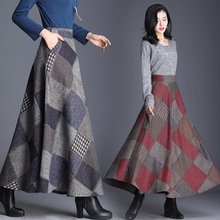 2019 autumn and winter woolen big swing skirt a word half length high waist retro plaid
