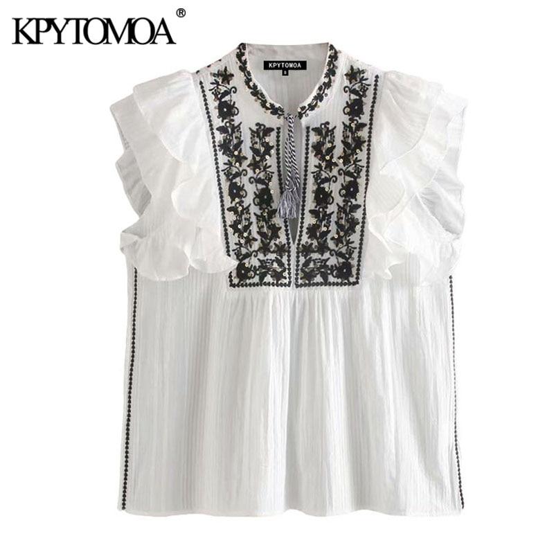 KPYTOMOA Women 2020 Fashion Sequin Embroidery Ruffled Blouses Vintage Sleeveless Tied O Neck Female Shirts Blusas Chic Tops