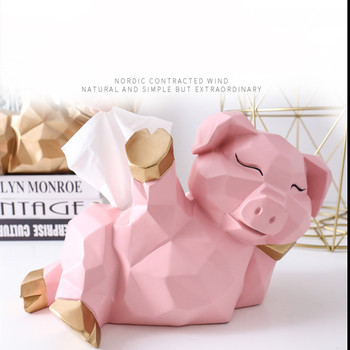 WSHYUFEI Nordic Resin tissue box Geometry Lucky pig Storage Box Ornaments Craft Home Decoration Office Desktop Figurines