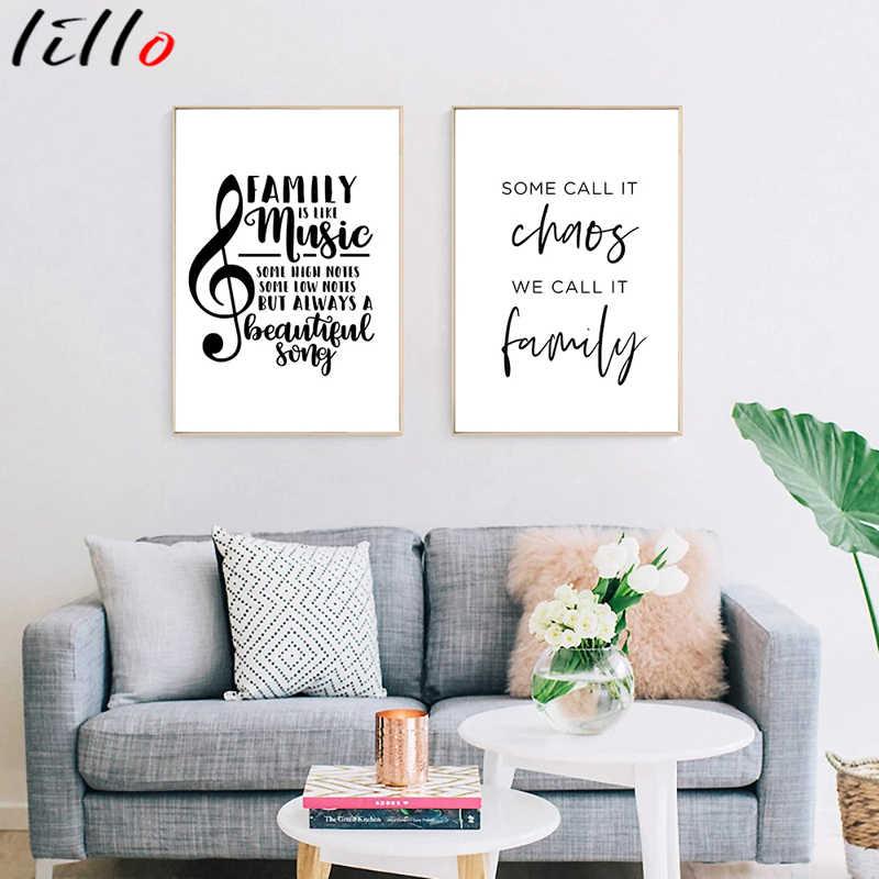 Простой Стиль Цитата семейный Черный и белый плакат холст картины фото для Гостиная скандинавском стиле в виде скрипичного ключа для дома