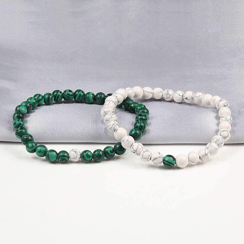 Couples Distance Beads Bracelet Classic Black Matte Green Malachite Bracelets Suitable Women Men Yoga Elastic Strand Jewelry 2