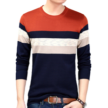 Men Casual Sweater Striped O-Neck Striped Slim Fit Cable Knit Sweater 2020 Fashion Autumn Mens Sweaters Pullovers Big Sizes autumn fashion brand casual sweater o neck striped slim fit mens sweaters pullovers men pull homme contrast color knitwear