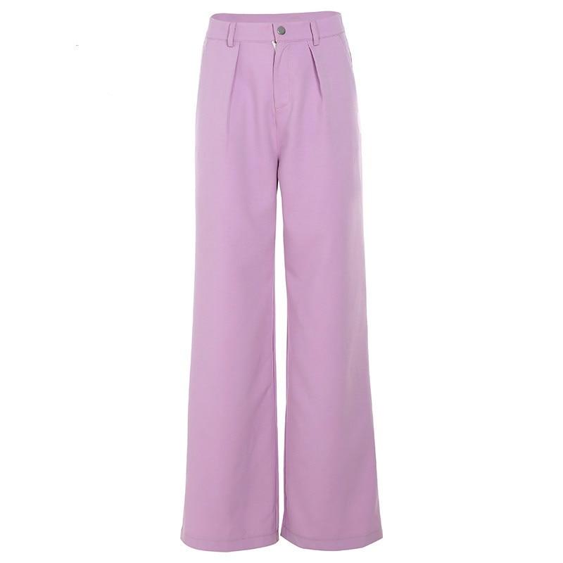 2019 Women High Waist Purple Straight   Pants   High Street Casual Long Suit   Pants   Solid Loose Zipper   Wide     Leg     Pants