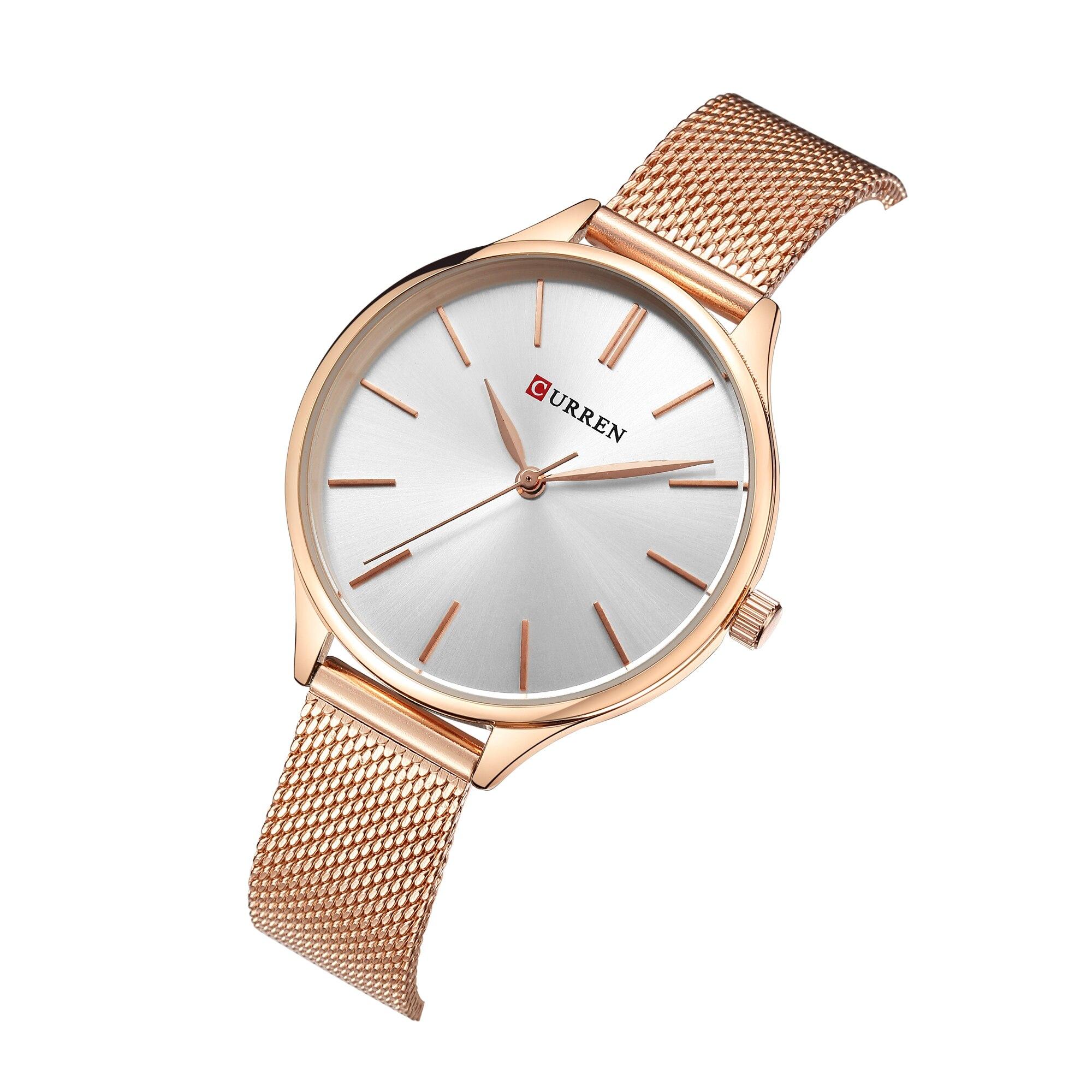CURREN Ladies Watch Fashion Forward Creative Design Women Watch Rose Gold Stainless Steel Wrist Watch Latest Reloj Mujer Outdoor in Women 39 s Watches from Watches