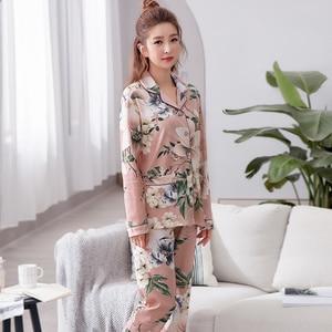 Image 5 - Womens Lange Mouwen Pyjama Lente Katoen Bloemen Vrouwen Nachtkleding Losse Twee Stukken Set Vrouwelijke Pyjama Plus Size 3XL Pijama Mujer
