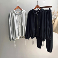 Mooirue 2018 Autumn Winter Women Outdoor Two Piece Set Gray Hoodies And Pants Warm Padded Casual 2pc Set Outfit