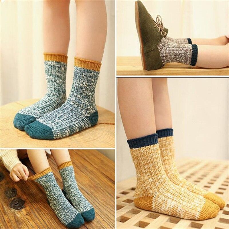 4Pairs/lot Kids Girls Socks Woolen Knitted Socks for Boy Winter Warm Socks for Girls Thick Children Stuff Suitable for 1-12Years 2