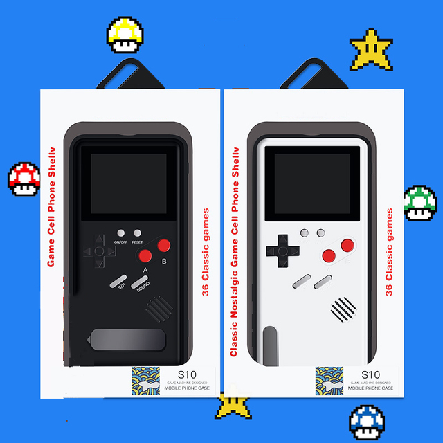 3D Gameboy Case for Samsung Note 10 20 S10 Plus Ultra Black Retro Game Boy Gaming Case for Galaxy S20 Ultra Plus with 36 Game