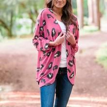 AMSGEND odzież damska moda damska płaszcz wzór w cętki luźna bluza z długim rękawem kurtka luźna damska kurtka zimowa damska tanie tanio CN (pochodzenie) Wiosna jesień long REGULAR Osób w wieku 18-35 lat NONE Otwórz stitch Na co dzień Pełna coat STANDARD