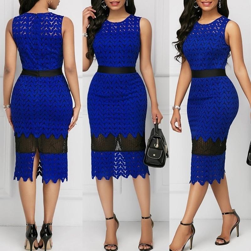 BacklakeGirls Blue Lace Split Joint Hollow Out Cocktail Dress Sleeveless Tea Length Woman Dress Robes De Cocktail Élégantes