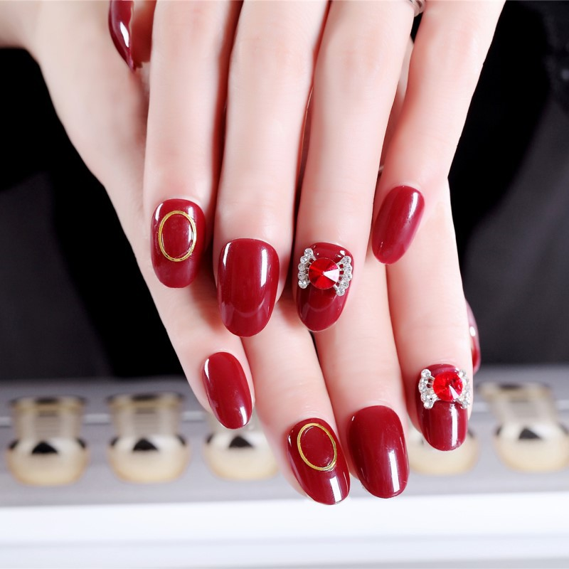 New Products Manicure Wear A Wine Red Carved Circle Bow Big Diamond Finished Product Manicure Stickers Fake Nails Stickers 297