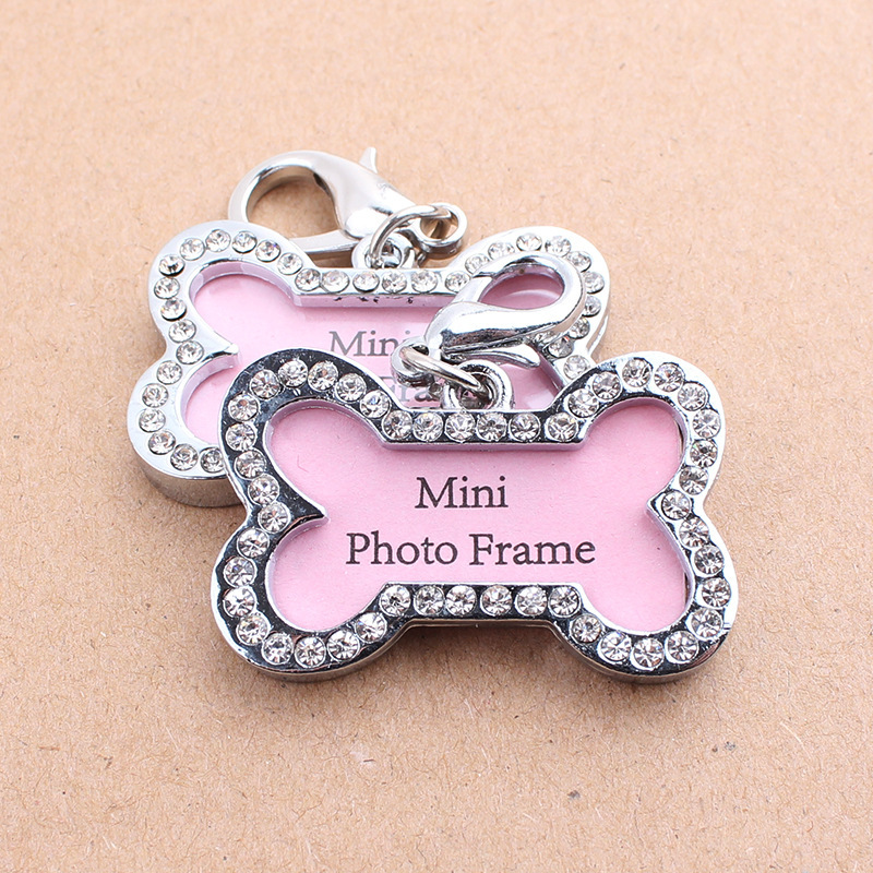 Manufacturers Wholesale Dog Halter Anti-Lost Pet Traction Rope Pink Diamond Set Bone-shaped Dog Tag Pet Supplies