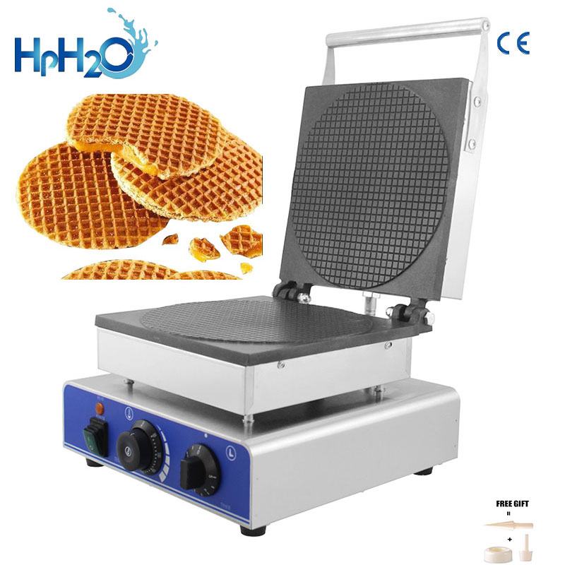 Commercial Electric Holland Round Stroopwafel Maker Syrup Waffle Machine Waffle Cone Maker Bubble Waffle Iron Cake Oven
