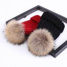 Real Fur Winter Pompom Hat For Kids Knited Beanie Warm Baby Hat For Children Fur