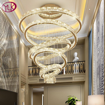 Luxury Living Room Modern Chandelier Lighting Large Staircase LED Crystal Lamp Home Decoration Cristal Lustre Lighting Fixtures
