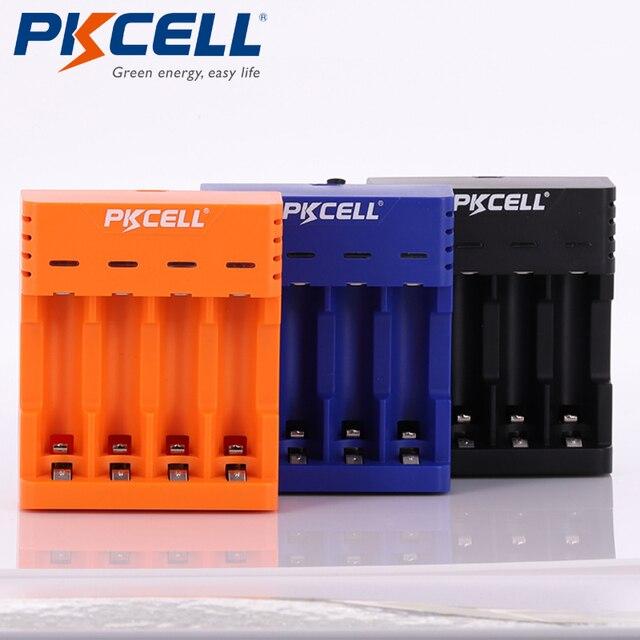 Pkcell Kleurrijke Acculader 4 Slots Voor Nimh/Nicd Aa Aaa Batterijen Usb Onafhankelijke Opladen