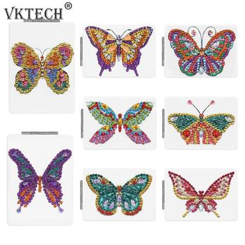 Butterfly/Heart DIY Special Shaped Diamond Painting Mirror Women Girl Ultra-thin Mini Makeup Mirror Embroidery Cross Stitch Kit 3