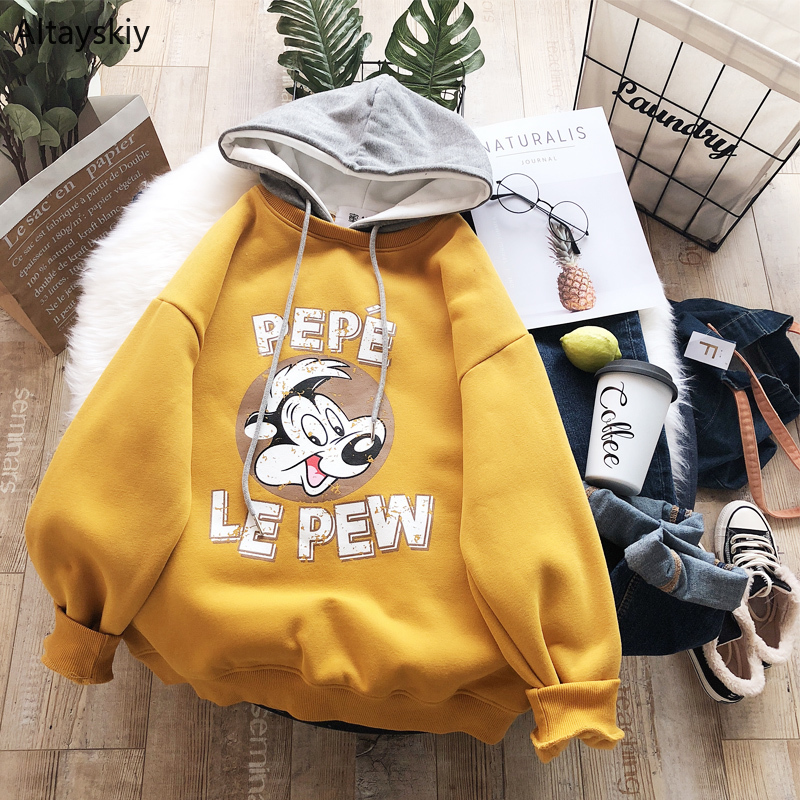Hoodies Women Kawaii Simple All-match Chic Soft Warm High-quality Lovely Cute Letters Cartoon Daily Korean Style 2020 New Girls
