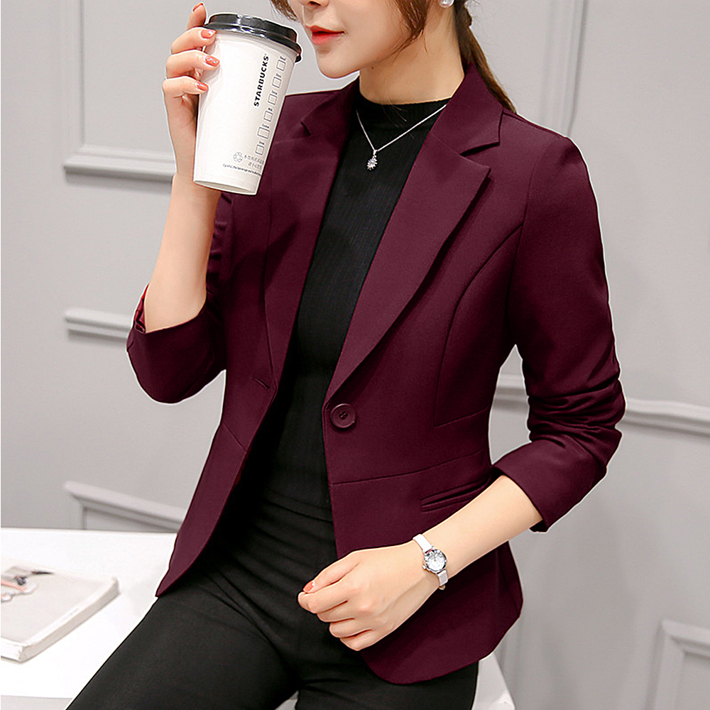 2020 Women Casual Suit Coat Solid Autumn Outwear Business Long Sleeve Jacket Women Long Sleeve Suit Fashion Slim Blazer