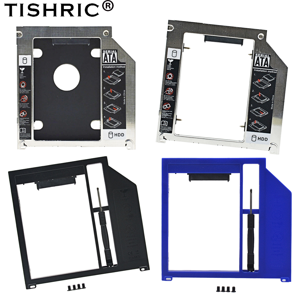 TISHRIC Universal Aluminum/Plastic 9.5mm/9.0mm HDD Caddy  2nd SATA 3.0 Hard Disk Enclosure For Apple Macbook Pro Air Optibay