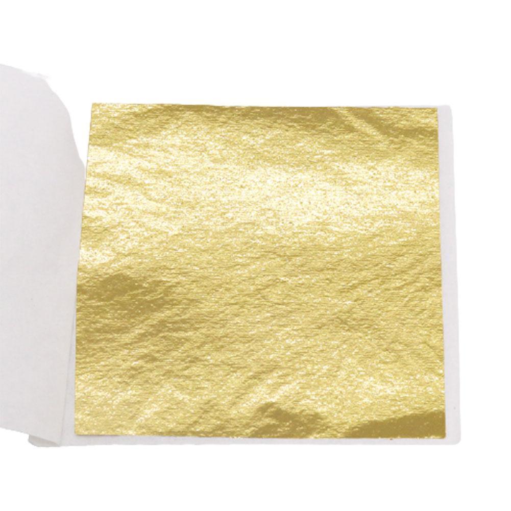 100X Gold/Silver/Copper Foil Double Sided Paper Decoration Leaves DIY Gilding Leaf cm Design Crafts 9*9 Sheets Paper Decor O7P5