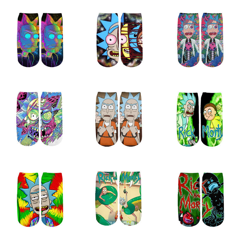 Newest 3D Printed Cartoon Cute Short Ankle Socks For Men Women Harajuku Korean Socks  RS-013
