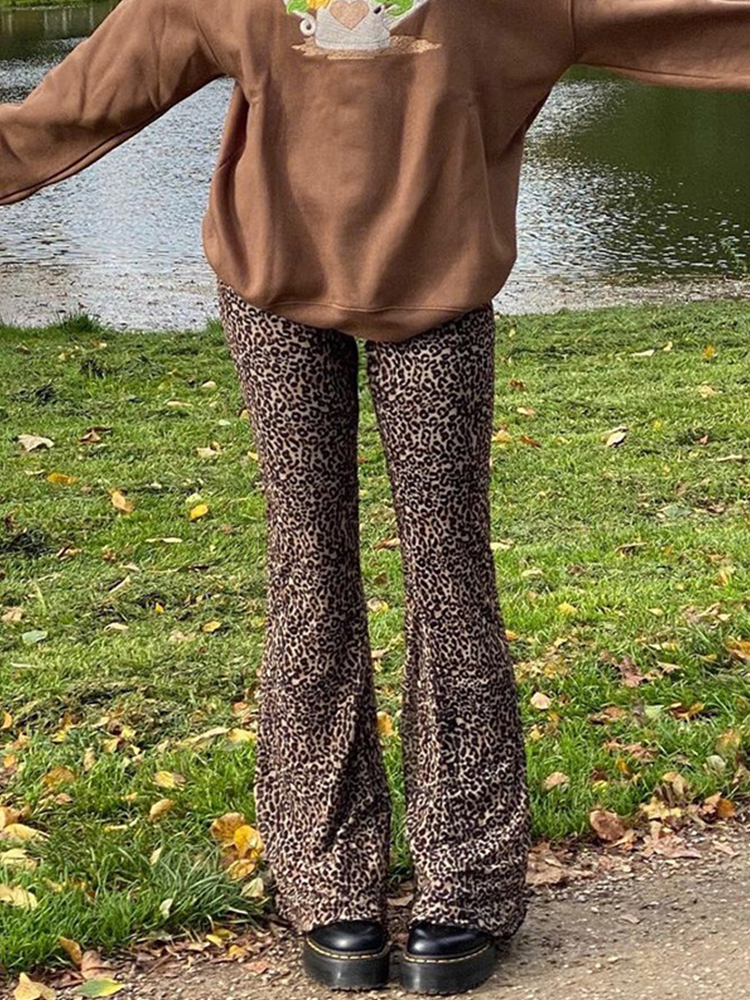 Flare Pants Aesthetic Trousers Y2k Joggers Sweetown Brown E-Girl Leopard High-Waist Double-Layer