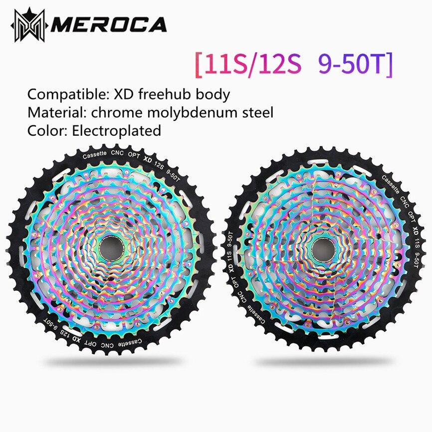 MEROCA MTB Mountain Bike Ultralight Hollow Freewheel CNC 11S 12S 9-50T Cassette Flywheel For XD Freehub Body Colorful Plating(China)