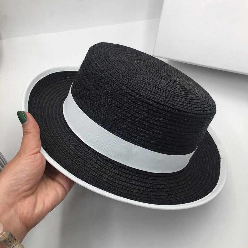 フランスのエレガントなわらフラットトップ帽子女性ファッションスター小さな帽子イン太陽の帽子わら帽子唐陰