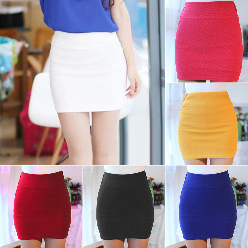 Women Lady Solid Color Slim Elasticity Short Skirt Fashion For Summer Party NIN668