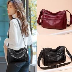 Plaid Thread Pattern Soft PU Leather Women's Shoulder Handbags Winter All-match Female Simple Designer Messenger Bag Sac A Main