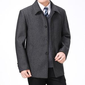 Image 5 - Mu Yuan Yang Wool Coat For Men Casual Woolen Coats Male Clothing Mens Jackets Single Breasted Overcoat 4XL Plus Size