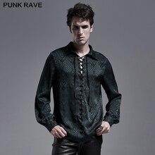 PUNK RAVE Men's Gothic Gorgeous Jacquard Shirt Retro Fashion Formal Prom Party Long Sleeve Blouses Mens Shirts 3 Colors