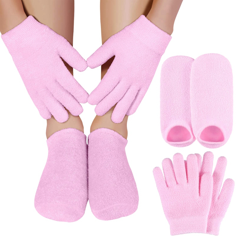 Moisturizing Gel Socks Gloves Set Hands Feet Skin Whitening Care Beauty Spa Treatment Hydrating Cool Soft Cotton Heel Booties So