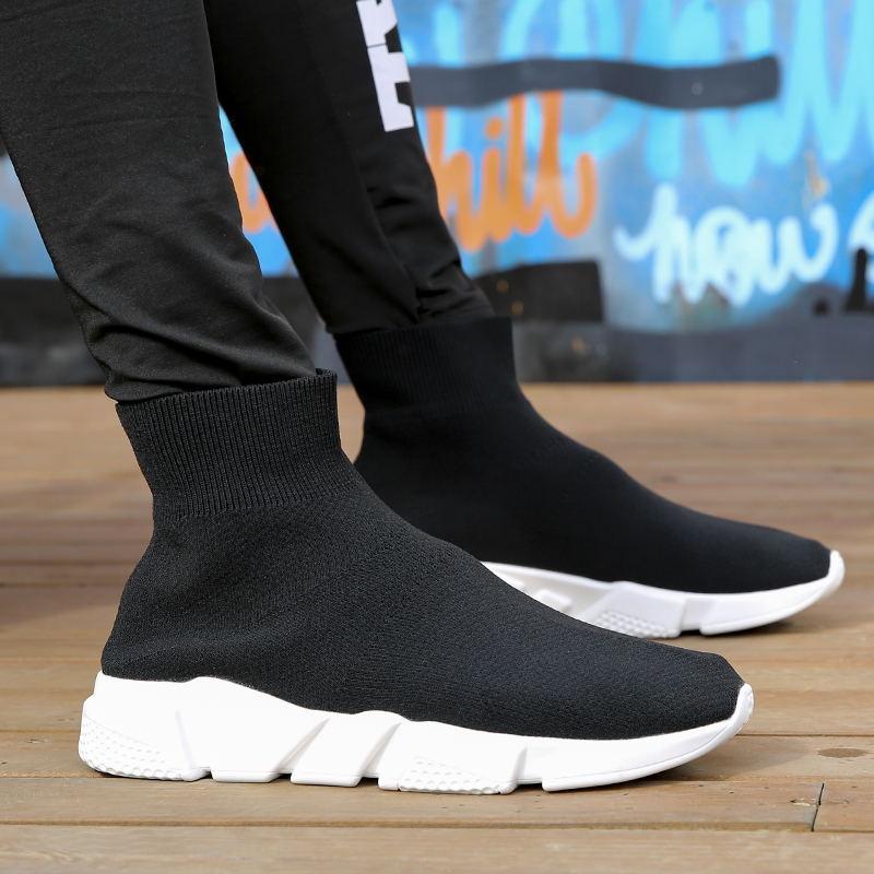 New High-top Fly Woven Sock Shoes Men Breathable Board Shoes Women Causal Shoes Trainers Footwear Stretch Mesh Tenis Sneakers