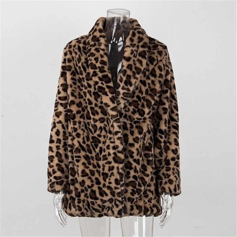 Bulu Mantel Wanita Musim Dingin 2020 Plus Ukuran Leopard Faux Rambut Berbulu Jaket Bulu Cardigan Bulu Imitasi Mantel Hangat Bulu Panjang mantel Cape Wanita