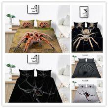 Impressão de aranha 3d conjunto capa edredão assustador perigoso aranha pegajoso pegar jogo cama carvão cinza branco