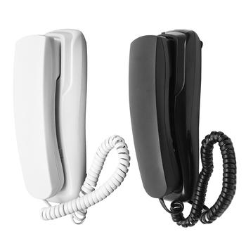 Mini ściany telefon telefon przewodowy biuro w domu hotelu pulpit telefon stacjonarny biały regulacja głośności w kolorze czarnym DC 48V tanie i dobre opinie LEORY