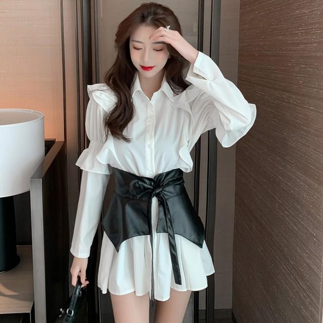 2020 autumn Patchwork Dress  Women Lapel Collar Flare Long Sleeve High Waist Pu Girdle Lace Up Mini Dresses Female Clothing 1
