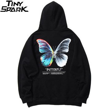 2020 Men Hip Hop Sweatshirt Hoodie Color Butterfly Streetwear Harajuku Pullover Hoodie Cotton Fleece Winter Autumn Black Hoodie 1
