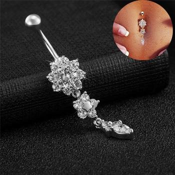 Crystal Belly Button Ring Barbell Dangle Pendant Body Piercing Nombril Ombligo Belly Button Buckle Men's Women's Body Jewelry 1