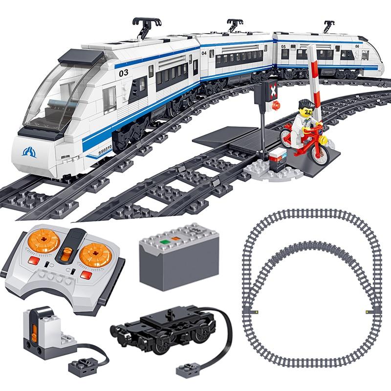 941 шт кирпичи RC высокоскоростной поезд техника городской автомобиль строительные блоки мальчик подарок на день рождения Дети дистанционно...