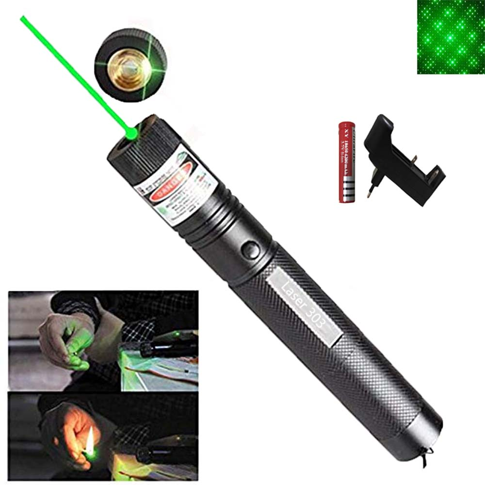 Green Laser Pointer  Laser Sight 10000 M 5mw Hight   Powerful Adjustable Focus Lazer Lasers 303 Pen Head Burning Match