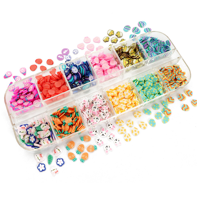 Easter Day Eggs Polymer Clay Slices Slimes Nail Sequins Manicure 3D Flakes Easter Bunny Design Nail Art Decorations Accessories