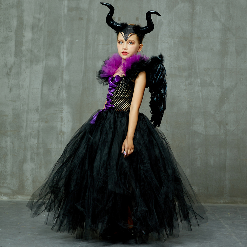 Hcdd9c7fa2aac4963bee86d0802316229Q Maleficent Black Gown Tutu Dress with Deluxe Horns and Wings Girls Villain Fancy Dress Kids Halloween Cosplay Witch Costume