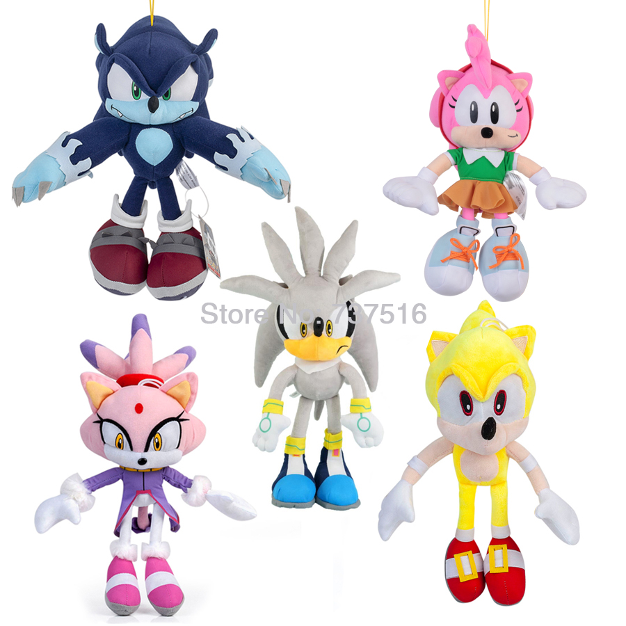 New Series Super Sonic Amy Rose Blaze The Cat Sonic The Werehog Silver The Hedgehog Plush Stuffed Animal Toy 11-20 Inch
