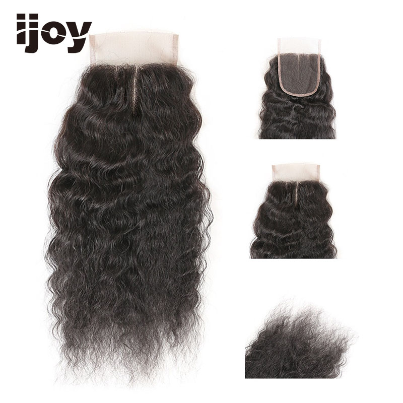 Lace Frontal Closure Kinky Straight Human Hair With 4x4 Lace Natural Color 8