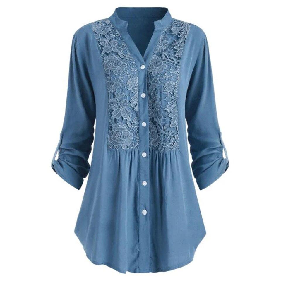 Blusas Para Mujer Camisa De Talla Grande Blusas De Encaje Blusas Elegantes Sueltas Para Oficina Para Mujer Blusas Y Blusas De Algodon Y Lino Tunica Vaquera Camisas De Manga Larga Blusas Y Camisas