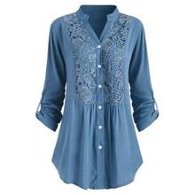 Womens Blouses Shirt Plus Size Lace Blusas Office Lady Elegant Loose Tops And Blouse Cotton Linen Denim Tunic Long Sleeve Shirts